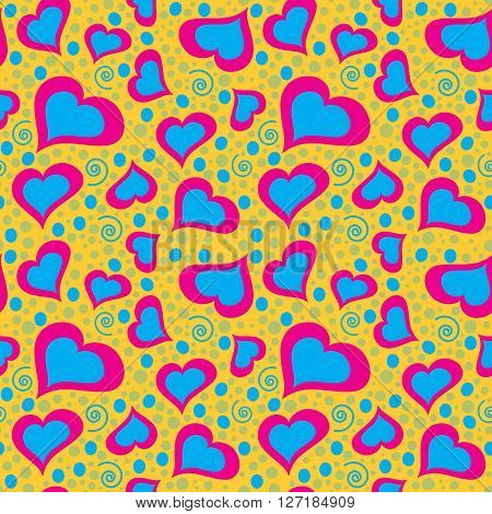 Abstract dreamy seamless heart pattern in red and blue shades on yellow background