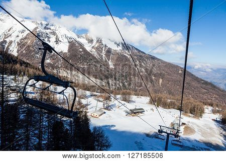 LES ORRES, HAUTES-ALPES, FRANCE - APRIL 6: Outdoor views of the ski resort Les Orres in departement Hautes-Alpes, France on April 6, 2015. Les Orres is a ski area between the cities Briancon and Gap