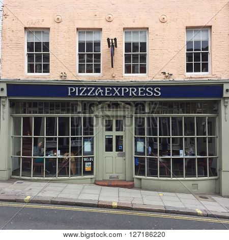LONDON - APRIL 25: Pizza Express on Heath Street on April 25, 2016 in Hampstead, London, UK.