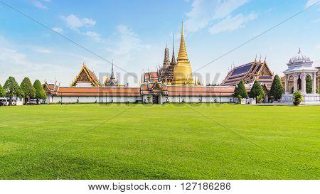 Green field and Grand palace (Wat Phrakaew Temple) Bangkok Thailand