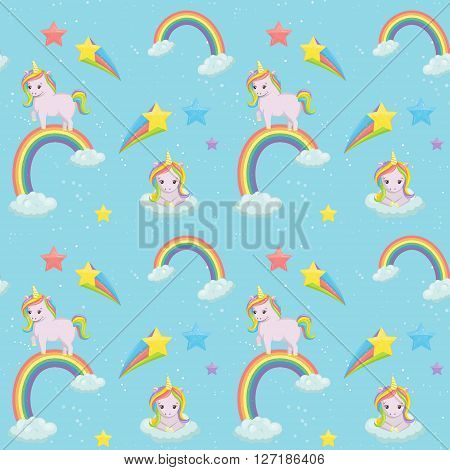 Adorable unicorn themed seamless vector pattern. Cute unicorns on the clouds rainbows comets and sparkling stars and elements on blue background.