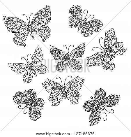 Set of Uncolored ornat butterfly for adult coloring book in famous zenart style.