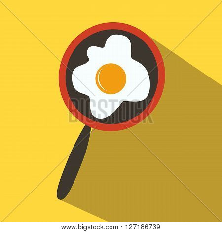 Frying pan with fried eggs colored icon on a yellow background.