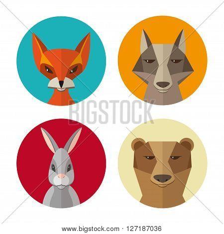 Forest animals rabbit fox wolf bear flat design vector icon set