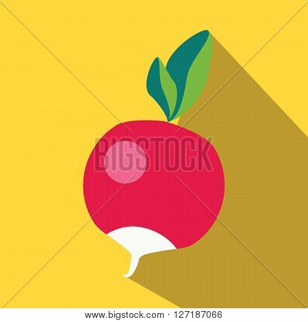 Radish colored icon on a yellow background.