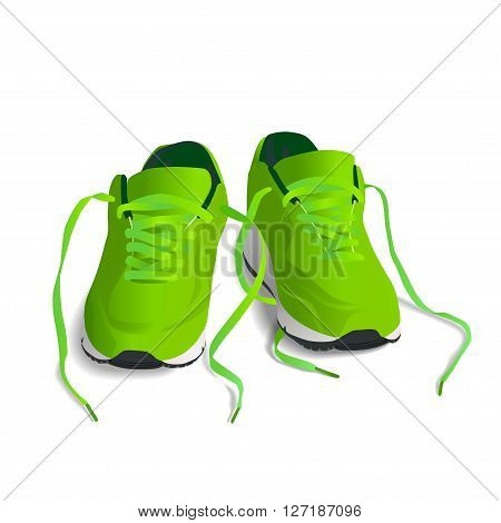 Green Sport shoes. Running shoe sneaker isolated on white background