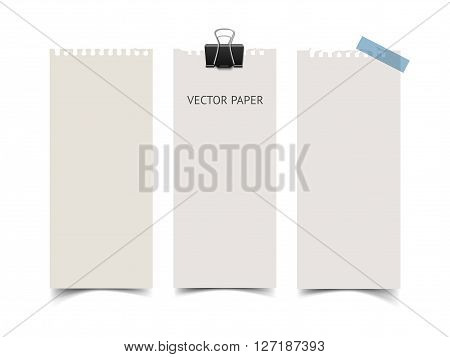 Set of vertical paper card banners with paper clip and scotch tape. Realistic vector notepaper wit torn edges isolated on white background. Paper sheets with shadow.