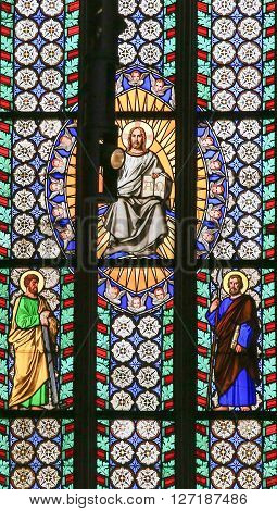 Stained Glass - Jesus Holding The Holy Bible And Saints