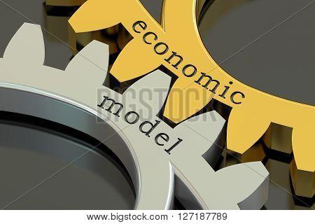 Economic Model concept on the gearwheels 3D rendering