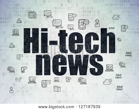 News concept: Painted black text Hi-tech News on Digital Data Paper background with  Hand Drawn News Icons