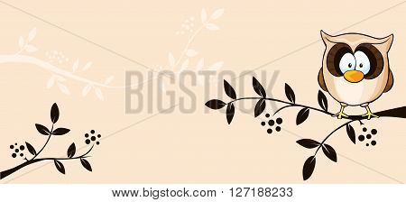 cute vector design with owl and branch - illustration