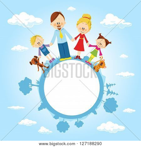 globe surrounded by clouds sky and family - vector illustration