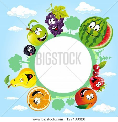 globe surrounded by clouds sky and fruit - vector illustration