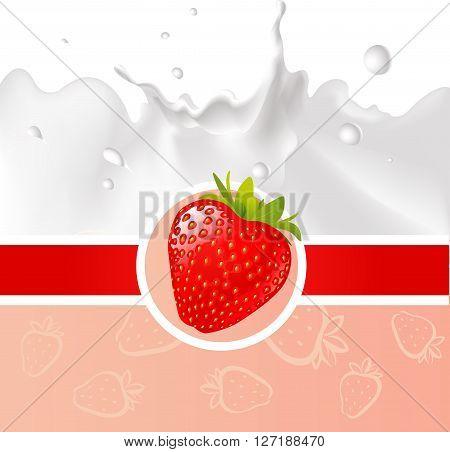 red design with strawberry and milk splash - vector illustration