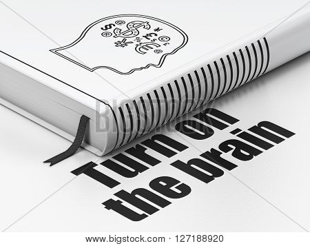 Studying concept: closed book with Black Head With Finance Symbol icon and text Turn On The Brain on floor, white background, 3D rendering