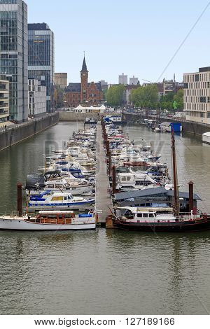 Cologne, Germany - May 17: This is area Reynauhafen - promenade along the left bank of the Rhine in the city center of Cologne May 17, 2013 in Cologne, Germany.