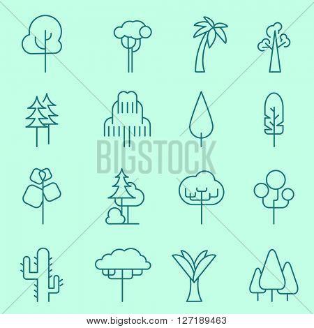 Trees icons, thin line, flat design