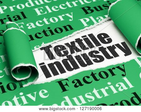 Industry concept: black text Textile Industry under the curled piece of Green torn paper with  Tag Cloud, 3D rendering