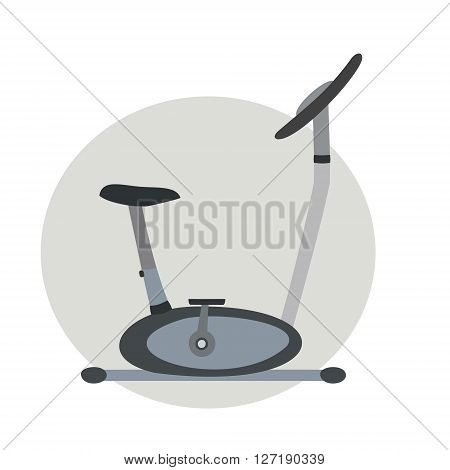 Stationary bike on a white background. Isolated.  Vector illustration.