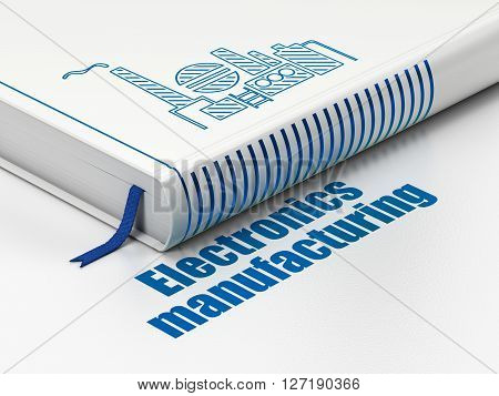Industry concept: closed book with Blue Oil And Gas Indusry icon and text Electronics Manufacturing on floor, white background, 3D rendering
