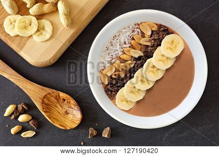 Chocolate Peanut-butter Banana, Smoothie Bowl Downward Scene On A Slate Background