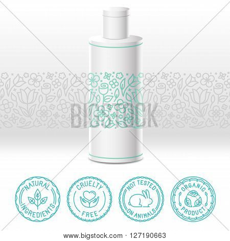 Organic Cosmetics Label In Trendy Linear Style