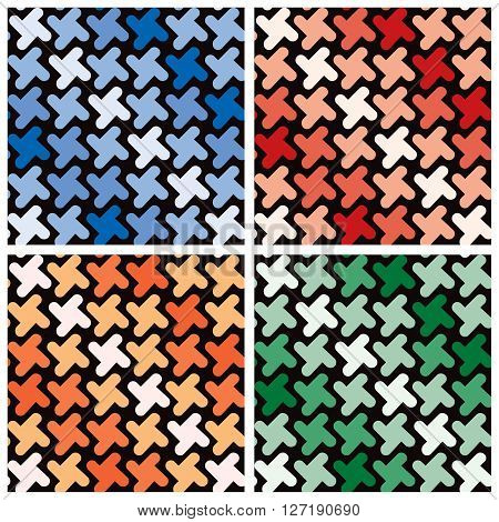 Seamless pattern of rounded cross shapes in four monochromatic color combinations. Colors are grouped. Patterns are in Swatches Palette.