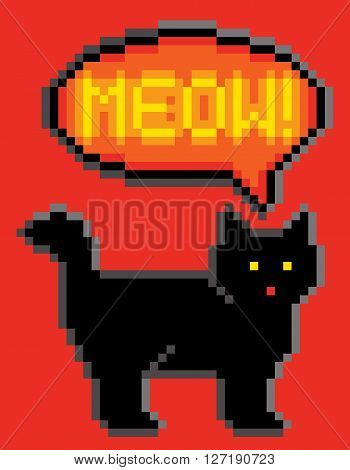 Meowing black cat illustrated in 8-bit computer gaming style.