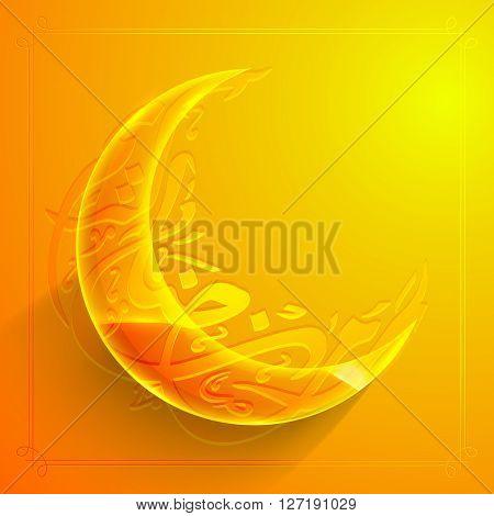 Creative Glowing Crescent Moon with Arabic Islamic Calligraphy of text Ramadan Kareem on glossy background, Elegant greeting or invitation card design for Muslim Community Festival celebration.