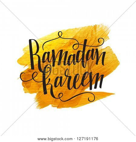 Stylish text Ramadan Kareem on golden abstract brush stroke background, Elegant greeting card design for Islamic Holy Month of Fasting and Prayers celebration.