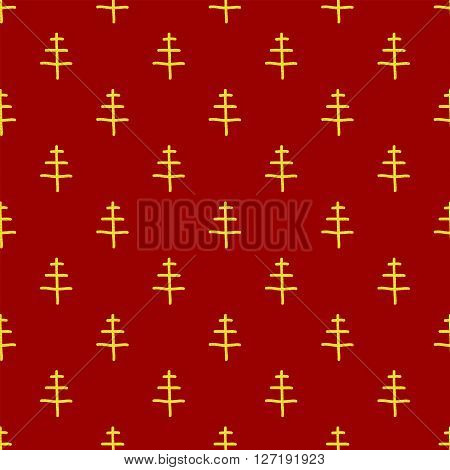 Christmas seamless pattern in Doodle style Golden Christmas tree. Paper products, wrapping, textiles on red colored background