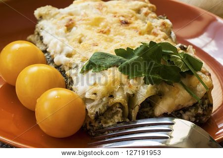 Cannelloni with spinach and ricotta baked in sauce bechamel on a plate