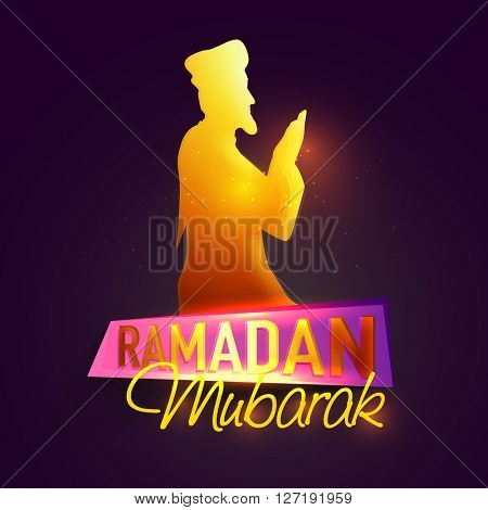 Creative illustration of Religious Muslim Man, Reading Namaz (Islamic Prayer) on occasion of Islamic Holy Month of Prayers, Ramadan Mubarak celebration.