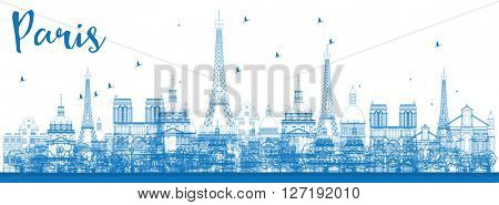 Outline Paris skyline with blue landmarks. Business and tourism concept with historic buildings. Image for presentation, banner, placard and web site