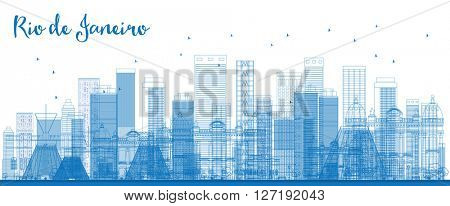 Outline Rio de Janeiro skyline with blue buildings. Business travel and tourism concept with modern buildings. Image for presentation, banner, placard and web site.
