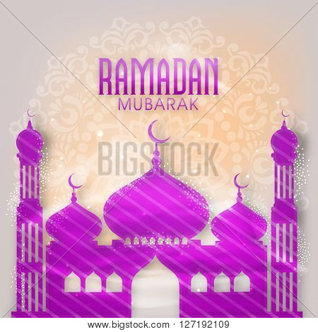 Creative glossy Mosque on floral design decorated background for Islamic Holy Month of Prayers, Ramadan Mubarak celebration.