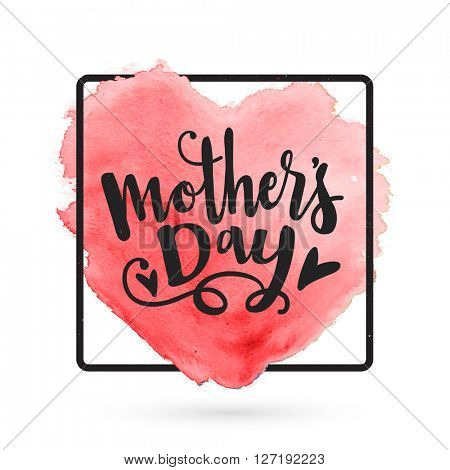 Mother's Day typographical background with creative heart. Elegant greeting card design for Mother's Day celebration.