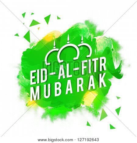 Shiny text Eid-Al-Fitr Mubarak on abstract green background, Elegant greeting card design for Muslim Community Festival celebration.