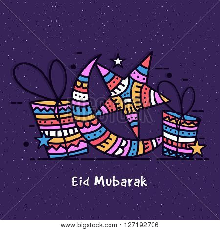 Elegant greeting card design with colourful crescent moon, stars and gifts on purple background for Islamic Famous Festival, Eid Mubarak celebration.