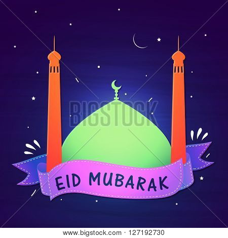 Beautiful glossy Mosque with Ribbon on shiny blue background for Muslim Community Festival, Eid Mubarak celebration.