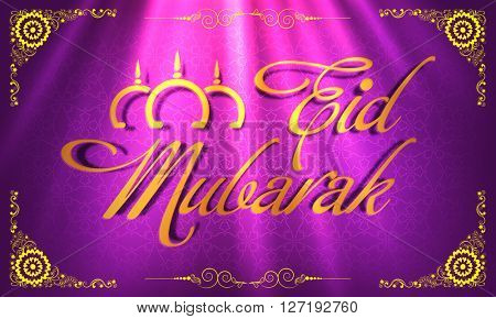 Glossy Golden Text Eid Mubarak on floral design decorated shiny purple background, Beautiful greeting card for Islamic Holy Festival celebration.