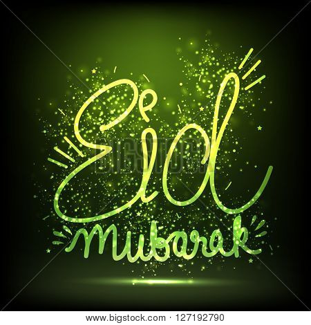 Glowing Text Eid Mubarak on shiny green background, Elegant greeting card design for Muslim Community Festival celebration.