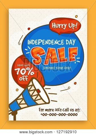 Sale Pamphlet, Banner or Flyer design with 70% Discount Offer on occasion of American Independence Day celebration.