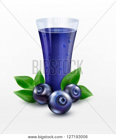 glass cup with juice of blueberries isolated on white background