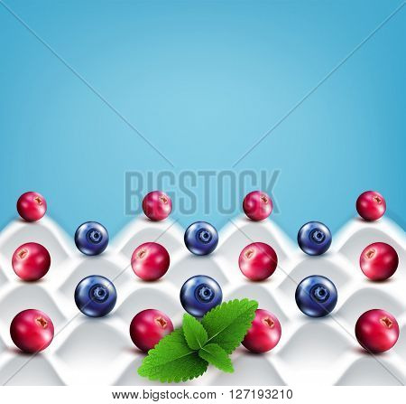 template:  wave yogurt with berries (cranberries, blueberries) and mint leaves on a blue background(JPEG Version)