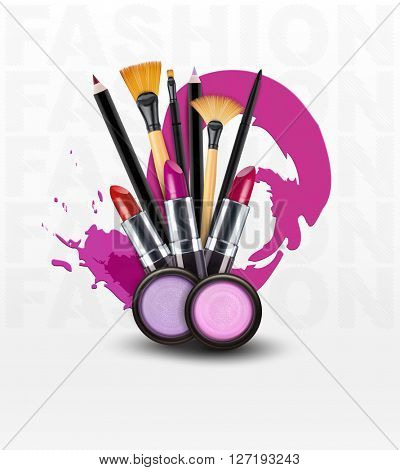background with cosmetics and make-up objects. (Flyer template)(JPEG Version)