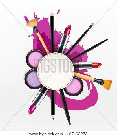 background with cosmetics and make-up objects and place for text. (Flyer template)(JPEG Version)