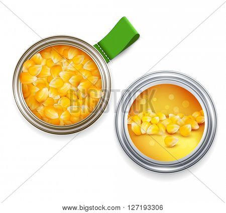 open tin can with grains of maize and cans with the label(JPEG Version)