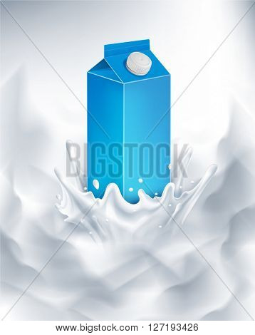 milk packaging of blue. splash in milk