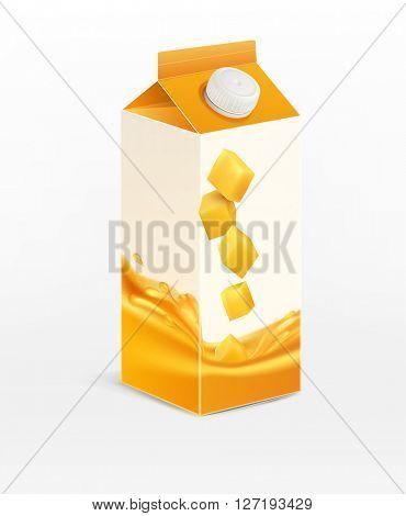 pack of mango juice, isolated on white background